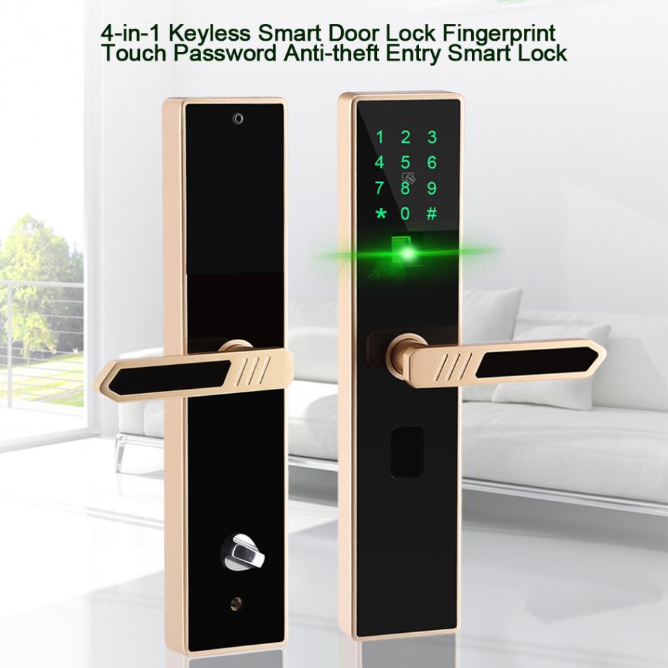 4 In 1 Keyless Smart Door Lock Fingerprint Touch Screen Password