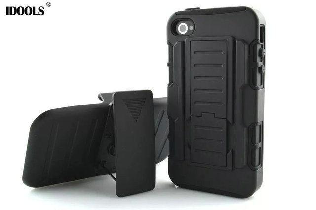 For Fundas Iphone 4s Armor Cases Shockproof Hybrid Covers Belt Clip Holster Stand Rugged