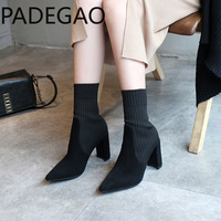 2018 autumn and winter new women's boots leather women's booties pointed thick with fashion sexy elastic stockings boots