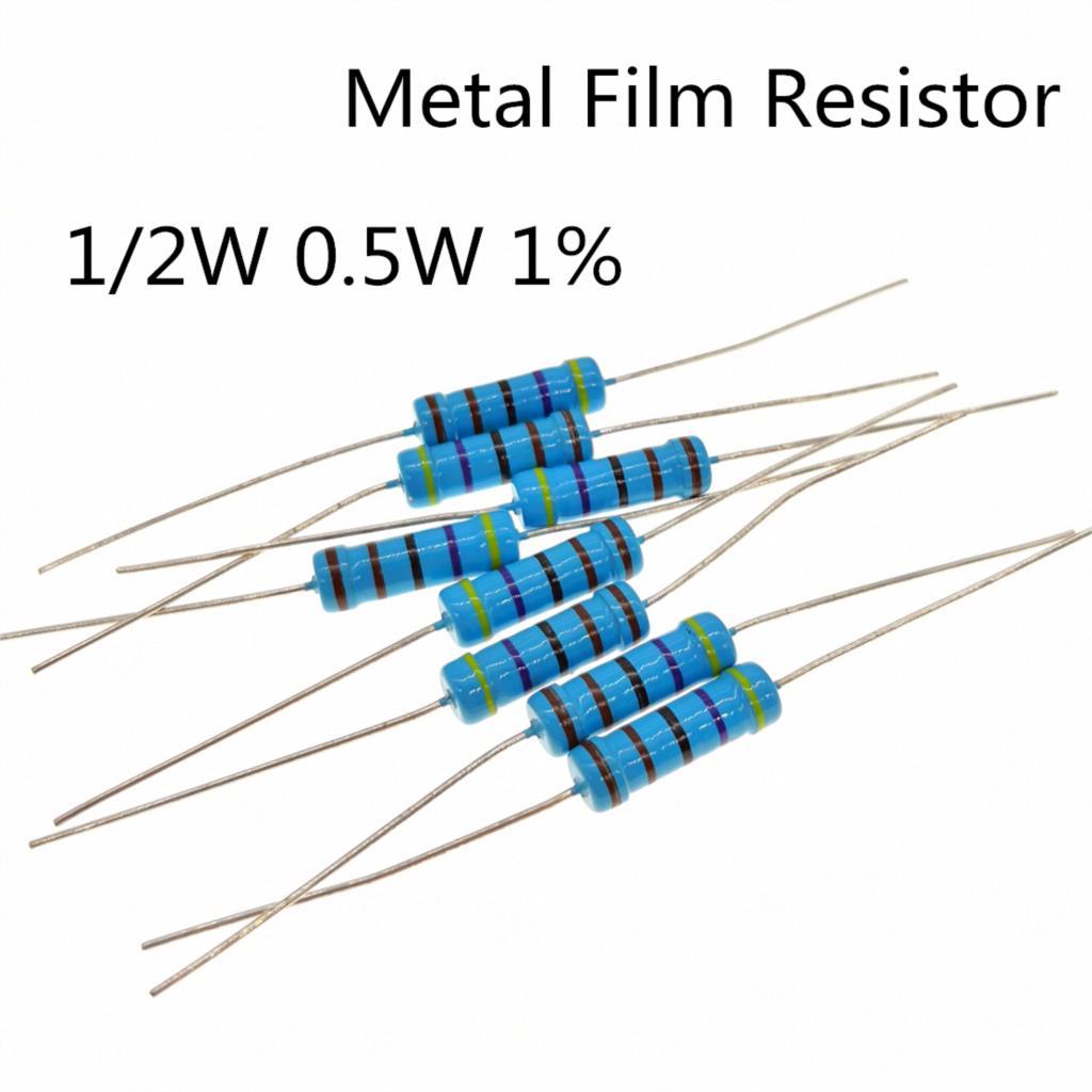 30~100pieces 1/2W  5.1K Ohm 1/2W 1% Radial DIP Metal Film Axial Resistor 5.1Kohm 0.5W 1% Resistors