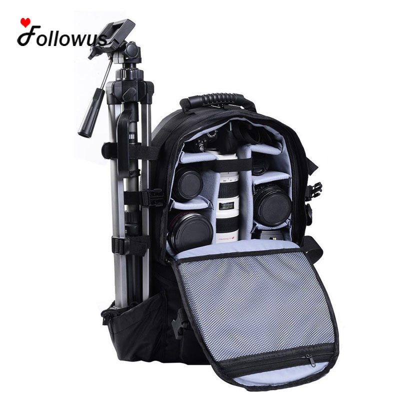 Multifunctional Black Deluxe Camera Backpack Bag Case Sony Canon Nikon DSLR SLR 18 230g deluxe black