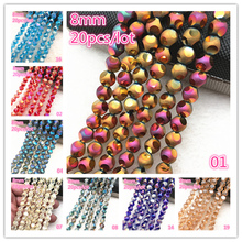 NEW 20pcs 8mm Austria Crystal Earrings Choker Bead Glass Spacer For Jewelry Making Necklace