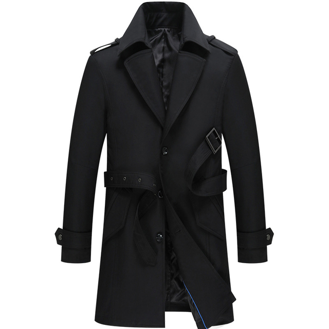 huge selection of 14ad6 a13e0 US $58.96 33% OFF|2018 Spring New Long Casual Lange Zwarte Jas Turn Down  Collar High Quality Mantel Herren Lang-in Trench from Men's Clothing on ...
