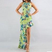 2017 Summer Vintage Floral Print Dress Women Sexy Maxi Long Dress Ladies Sleeveless Backless Ruffles Asymmetrical Vestidos