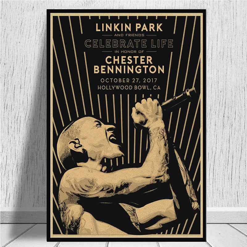 Linkin Park Nostalgico Rock Band di Stile di Carta Kraft Cafe Bar Poster Retro Poster Pittura Decorativa