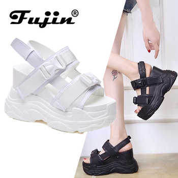 Fujin High Heeled Sandals Female Increased Shoes Thick Bottom Summer 2019 New Women Shoes Wedge with Open Toe Platform Shoes - DISCOUNT ITEM  55% OFF All Category