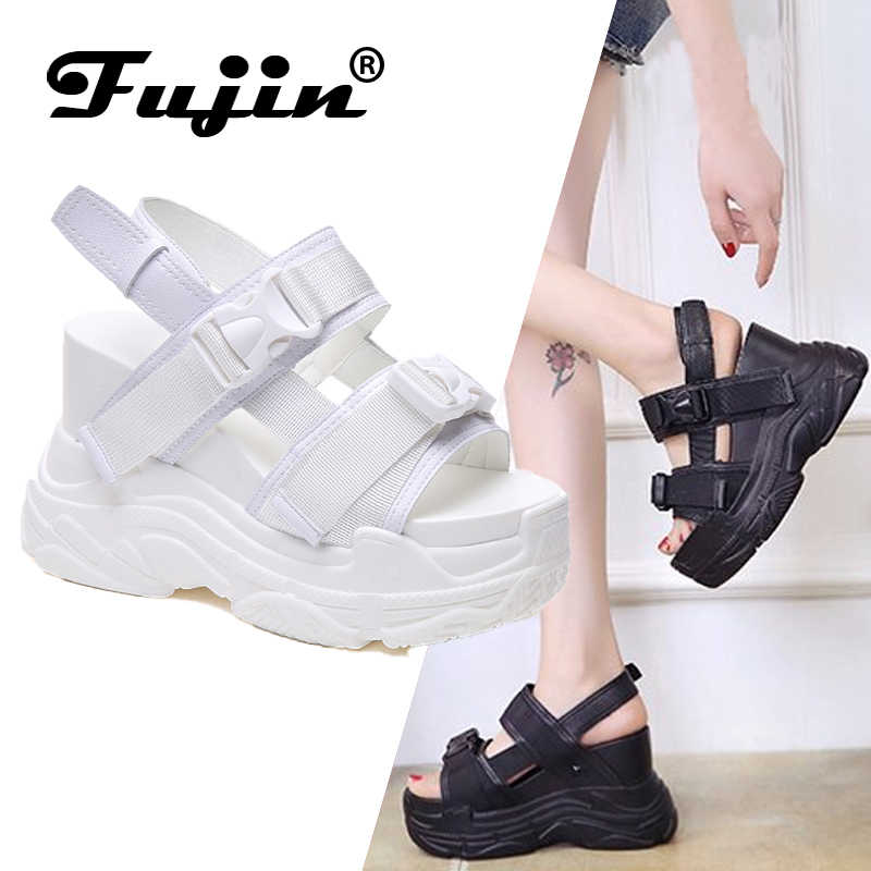 Fujin High Heeled Sandals Female Increased Shoes Thick Bottom Summer 2019 New Women Shoes Wedge with Open Toe Platform Shoes