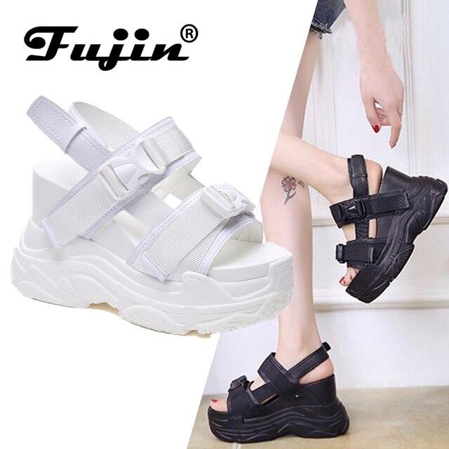 Fujin Yüksek Topuklu Sandalet Kadın Artan Ayakkabı Kalın Alt Yaz 2019 Yeni Kadın Ayakkabı Kama Açık Toe platform ayakkabılar
