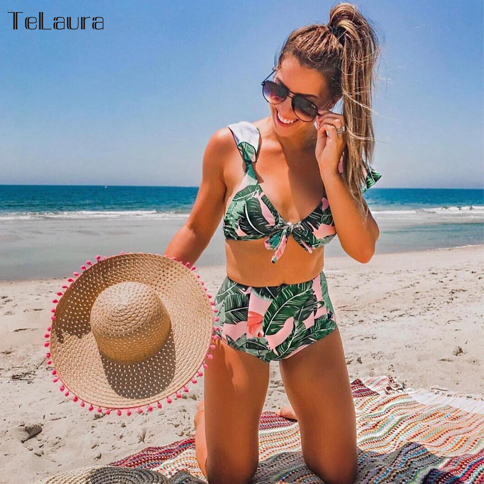 2018 Sexy High Waist Bikini Swimwear Women Swimsuit Push Up Ruffle Bikinis Women Bathing Suit Biquini Summer Beachwear Female omkagi brand sexy bandage bikini set swimwear swimsuit women push up swimming bathing suit beachwear bikinis 2017 summer newest