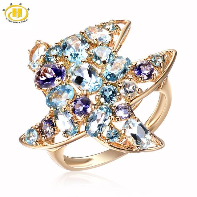 Hutang Verdadera Multi-color de la Piedra Preciosa Starfish Anillo Sólido 925 Plata Esterlina Joyería Del Partido de Las Mujeres de la Alta Calidad