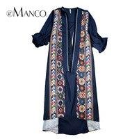E-Manco De Mode Lâche Longue Robe pour Femmes Bleu Casual Imprimer Fleur Mince Mi-mollet Vestidoe Top Apparel femmes Vêtements