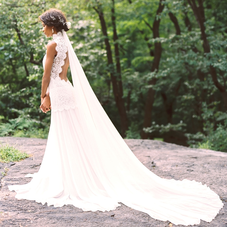Elegant High Neck Lace Bohemian Country Wedding Dresses