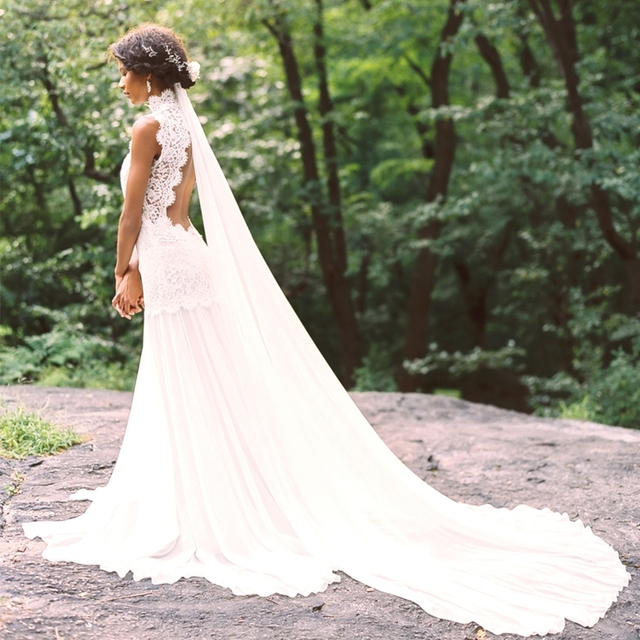 Elegant High Neck Lace Bohemian Country Wedding Dresses 2016 Open Back Boho Beach Bride Dress