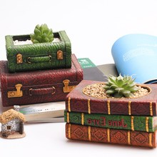 Creative European Retro Resin Flowerpot Multi-function Desktop Decor Book Succulent Plant Pot Bonsai Planter Home Office Craft