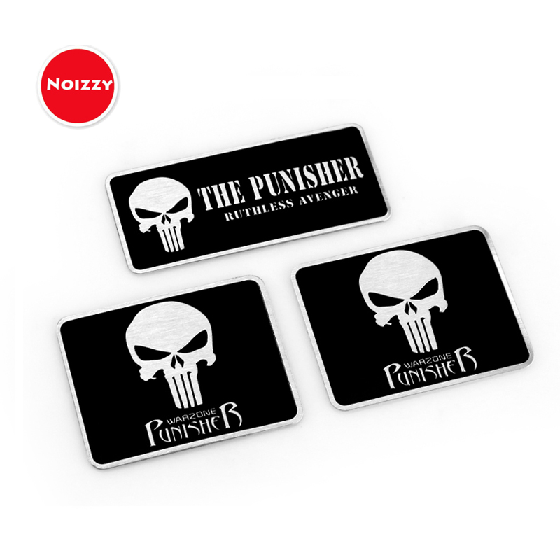 Noizzy The Punisher Skull Warzone 100% 3D Metal Car Auto Badge Motorcycle Sticker Emblem Logo Automobile Tuning Car-Styling 3d metal the punisher skull emblem badge car stickers and decals auto truck motorcycle for bmw benz audi mazda kia car styling