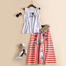 77Fang women's spring summer luxury runway fashion high quality white elegant beading t-shirt + striped skirt suits sets Twinset