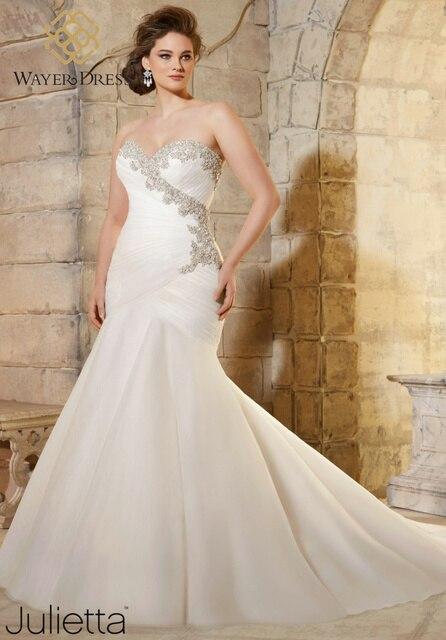 designer plus size wedding dresses mermaid style rhinestone crystal beaded lace up back wedding gowns vestido