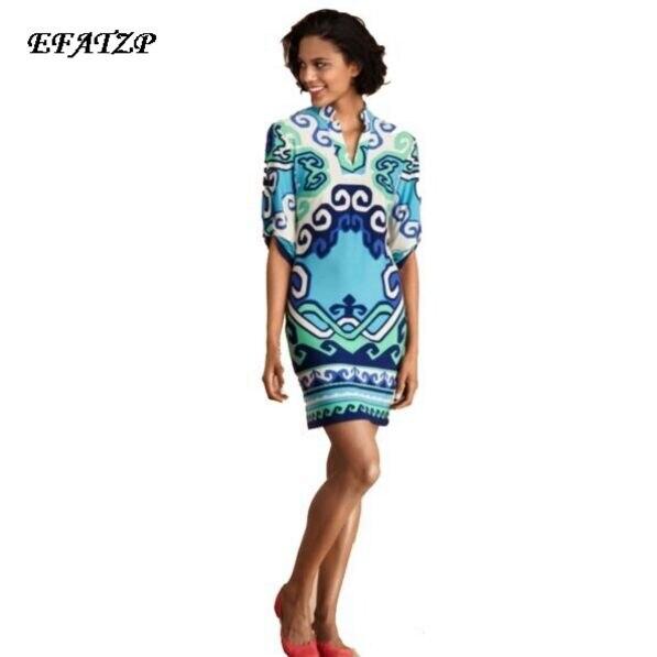 Luxurious Brands Women s Half sleeves Blue Geometric Print Stand Collar Casual Stretch Jersey Silk Plus