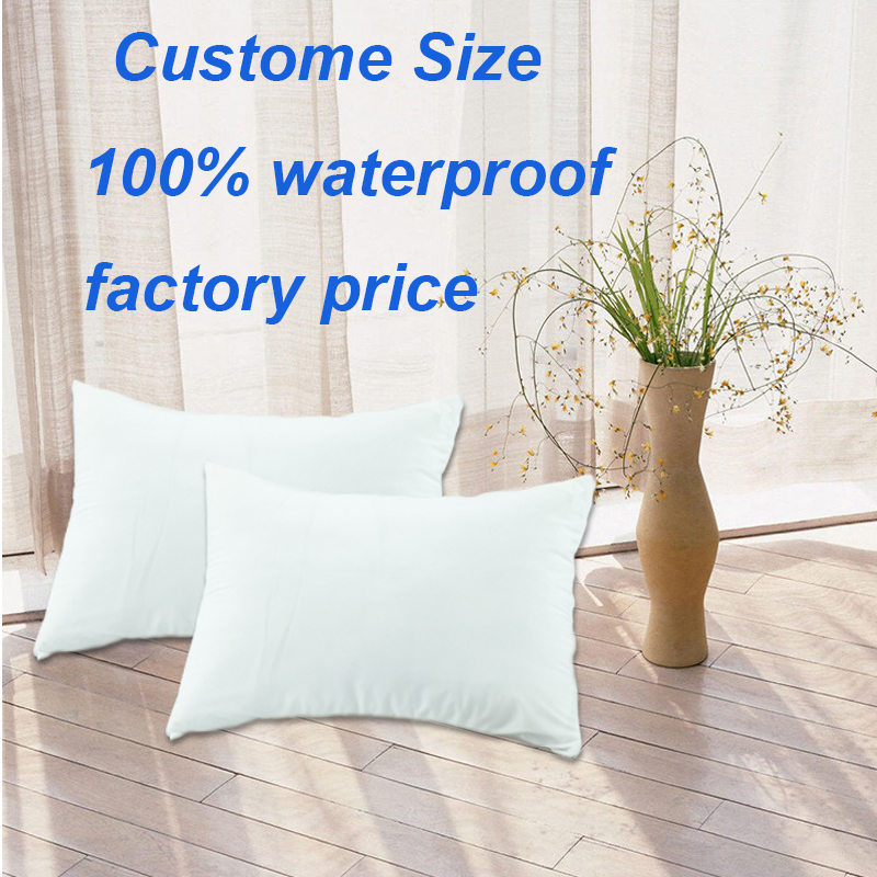 One Pair Cheap Pillow Case 50*70 40x40cm 100% Waterproof Zippered Pillow Protector Bed Bug White Pillow Cover Protects Polyester