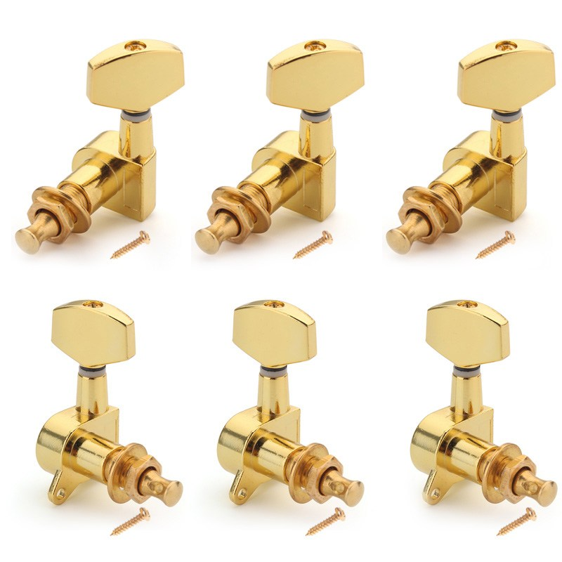6pcs/Set Chrome Guitar String Tuning Pegs Tuners Machine Heads For Stringed Instruments Ukulele Guitar Parts Accessories a set of 3r3l string tuners tuning peg machine heads for classical guitar