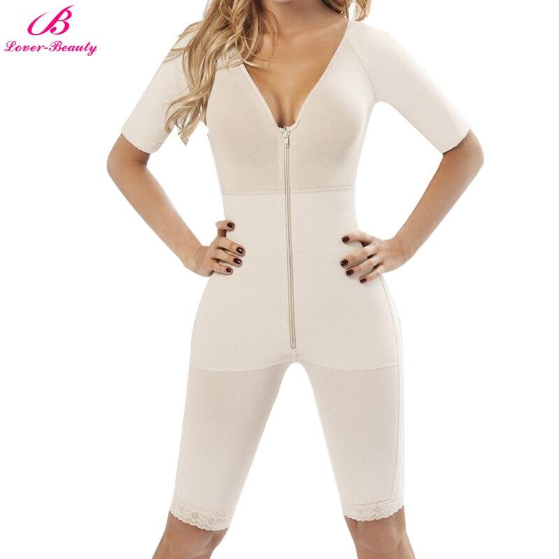 Lover-beleza cobertura completa corpo shaper feminino plus 3xl v profundo lingerie manga shapewear zip up magro coxa apertado bodysuit sem costura