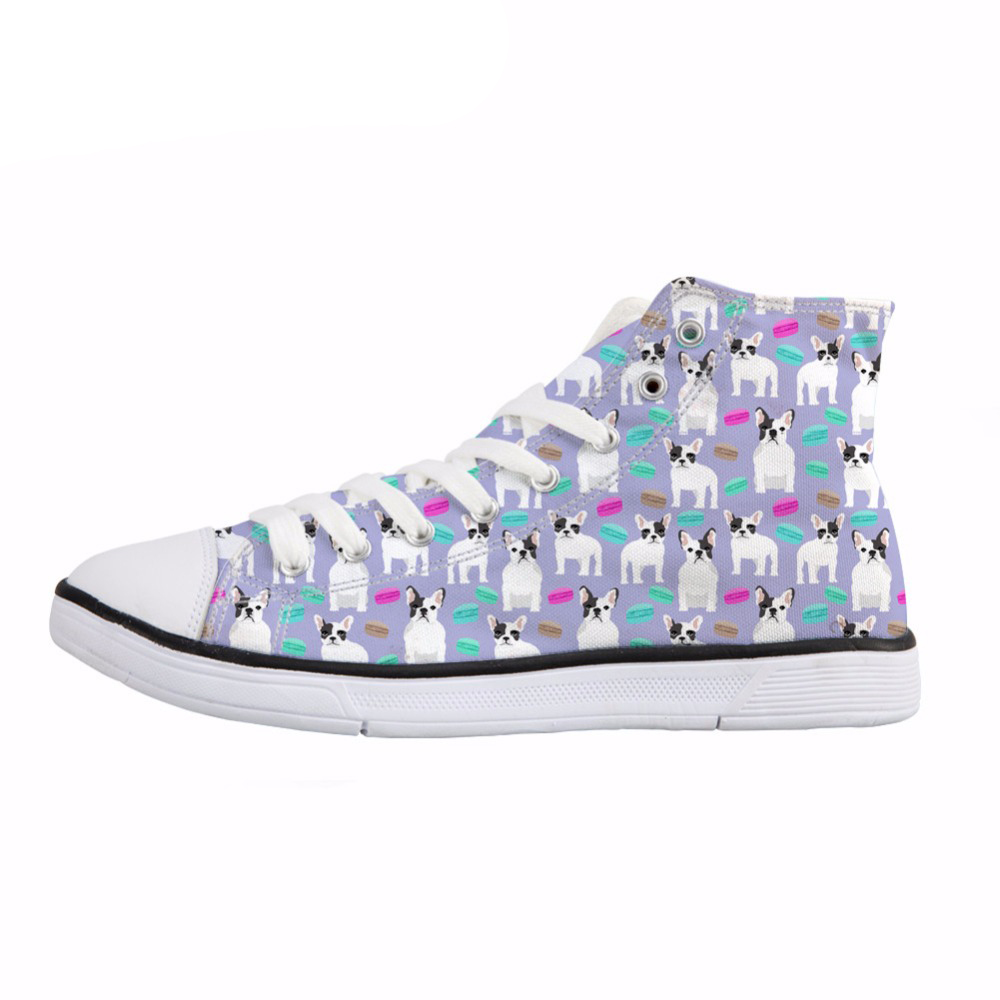 NOISYDESIGNS French Bulldog Print Women 39 s Canvas Shoes Fashion Lace up Vulcanize Shoes for Girls Students Summer Sneakers Ladies in Women 39 s Vulcanize Shoes from Shoes