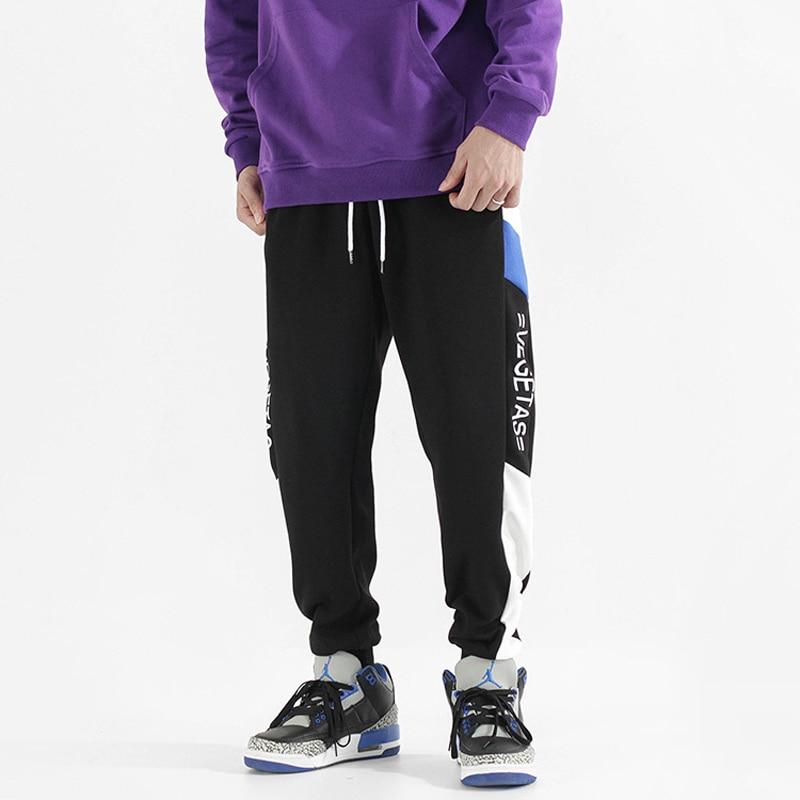 Fashion Streetwear Men Sweatpants Loose Fit Side Stripe Spliced Designer Casual Slack Bottom Joggers Men Hip Hop Pants