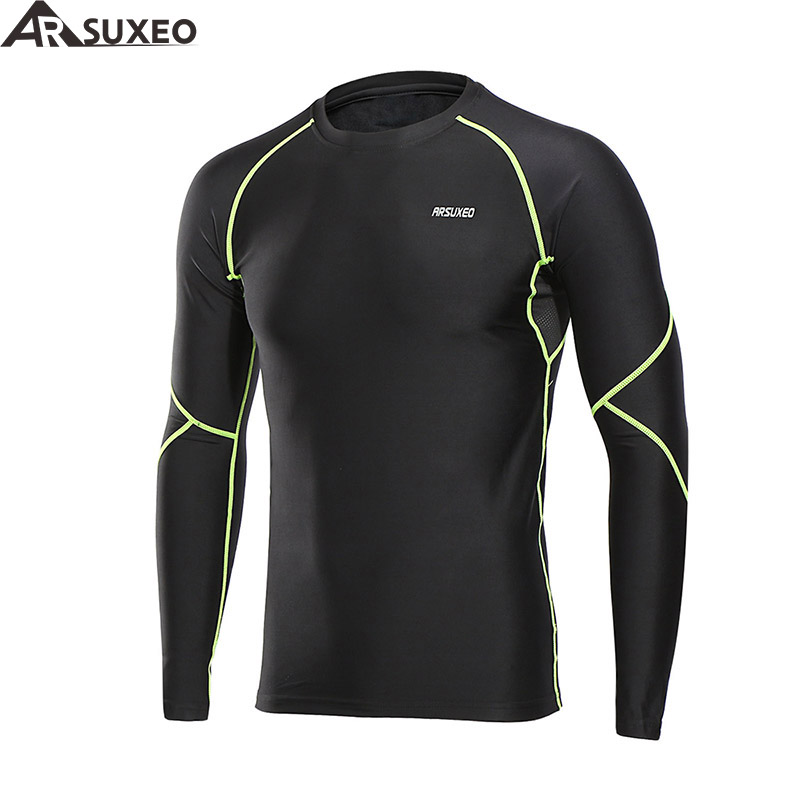 ARSUXEO 2018 Men's Winter Warm Up Fleece Compression Shirt Base Layer Running Long Sleeves Tights Workout GYM T Shirt U81S purple lace up cold shoulder long sleeves t shirt