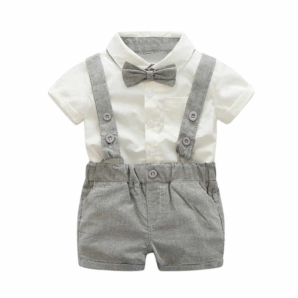 907c0f96f TELOTUNY baby boy clothing set Summer Gentleman Bowtie Short Sleeve Shirt+Suspenders  Shorts Suit Z0829