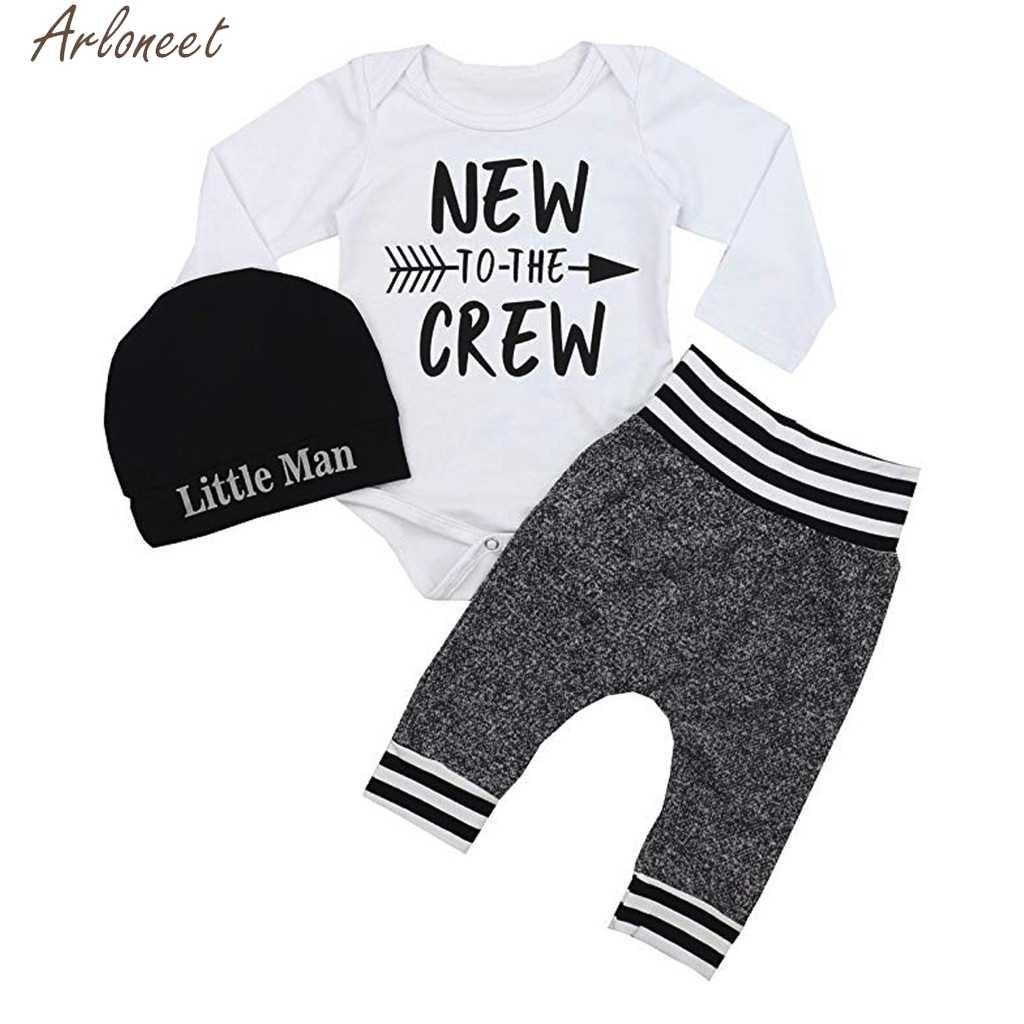 ARLONEET 3PCS Pasgeboren Baby Boy Outfits Brief Afdrukken baby kleding pasgeboren baby boy kleding set baby kleding baby meisje kleding