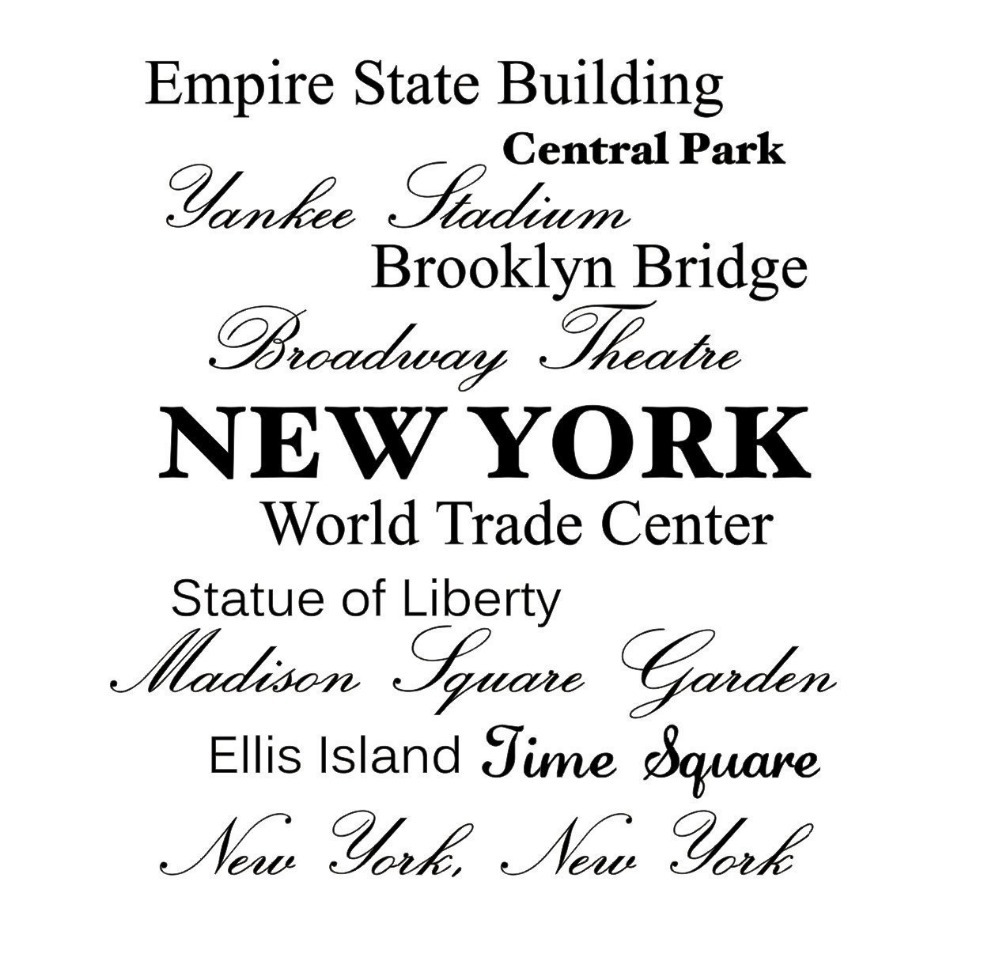 Empire State Building, Central Park, Broadway Theater,New York Wall Art  Inspirational Quotes Kitchen Wall Sticker Home Decor In Wall Stickers From  Home ... Part 73