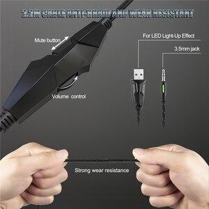 Image 3 - LEORY K19 RGB LED אור USB משחקים שחור אוזניות 2.1m סטריאו הפחתת רעש Wired אוזניות אוזניות עם מיקרופון
