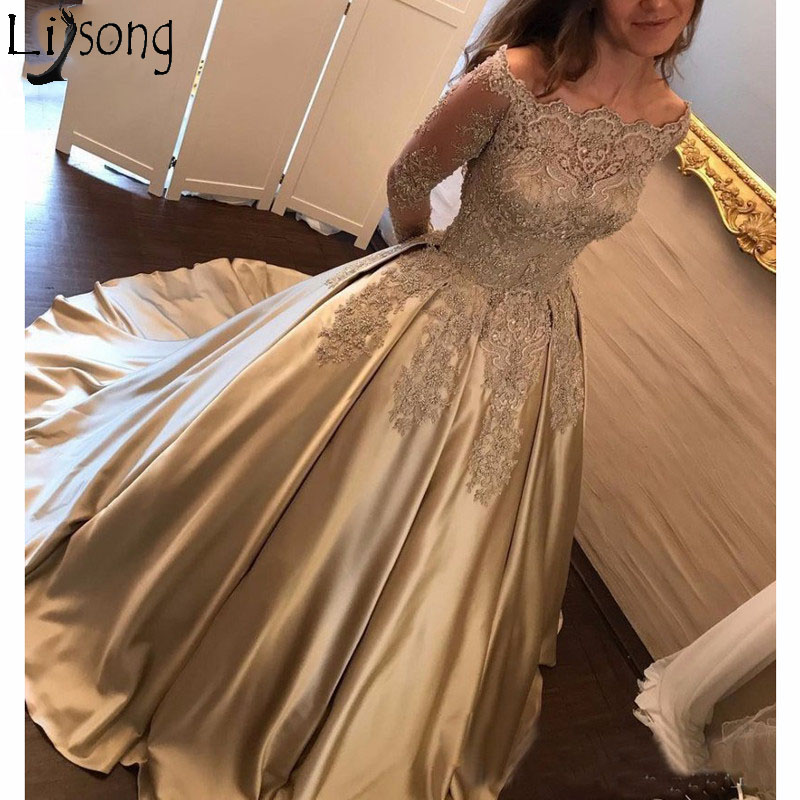 Elegant 2018 Off Shoulder   Prom     Dresses   Long Sleeves Vestidos de fiesta Gala   Dress   for Graduation Slash Neck Formal Evening   Dress