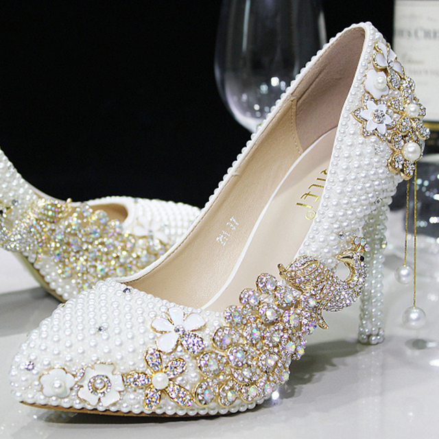luxury pearl sparkling glass slipper bridal shoes wedding shoes