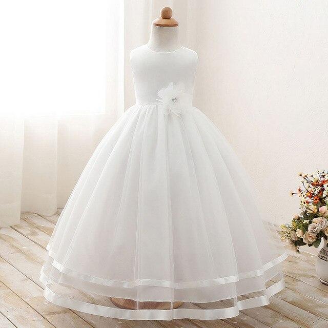 Высокая талия с бусинами и цветами платье с фатиновой юбкой для девочек формальные дети платье-пачка одежда для свадьбы, дня рождения платье Одежда подружки невесты для девочек
