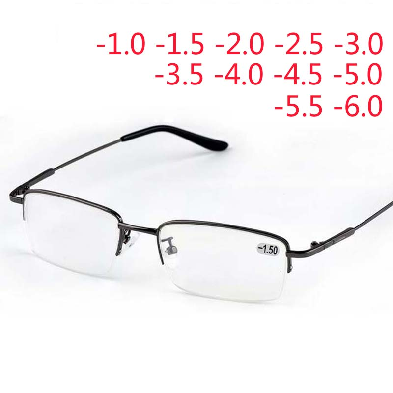 Ultralight Half Frame Metal Finished Myopia Glasses Men Fashion Gray Frame Square Nearsighted Glasses -1.0 -1.5 -2.0 To -6.0