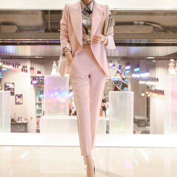 Two Pieces Set Spring Autumn Business Formal Pink Suits For Women Work Office Long Sleeve Jackets Trouser Suits For Wedding W97