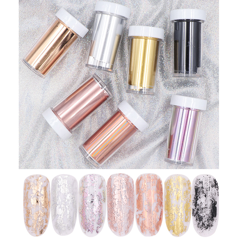 New 7pcs/lot Holographic Rose Gold Silver Nail Art Transfer Foils Laser Starry Sky Nail Stickers DIY Nail Polish Decoration Tips