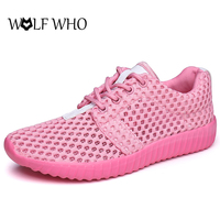 WOLF WHO Women Summer Casual Shoes Mesh Breathable Flat Shoes For Women Super Light Walking Shoes