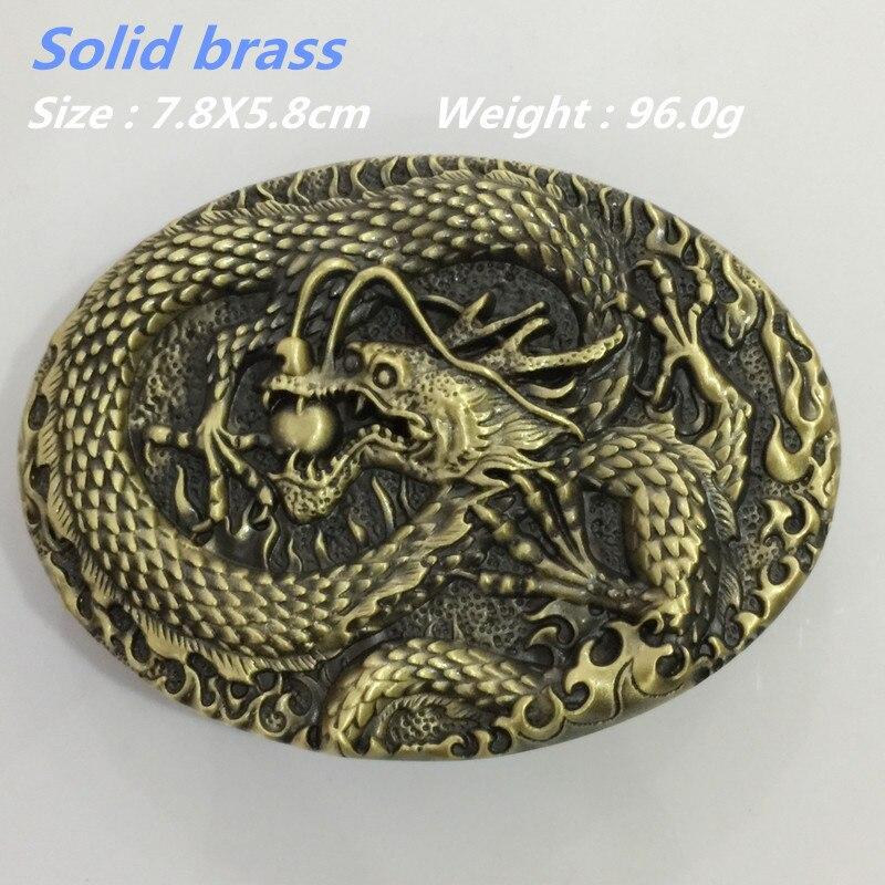 Nuevo estilo al por menor alta calidad oval latón macizo fresco 3D dragón hebilla  de cinturón para 4 cm ancho cinturón hombres de la moda mujeres Vaqueros ... 9c1fea392153