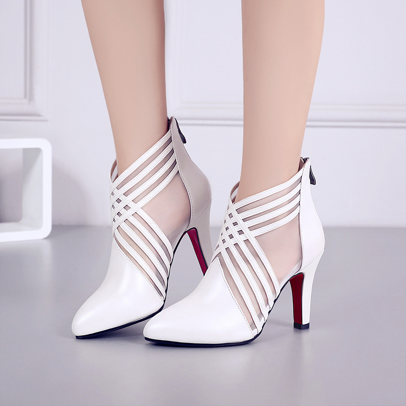 Women Full Grain Leather Thin Heels Pointed Toe Summer Ankle Boots Cut Out Zip Fashion Real