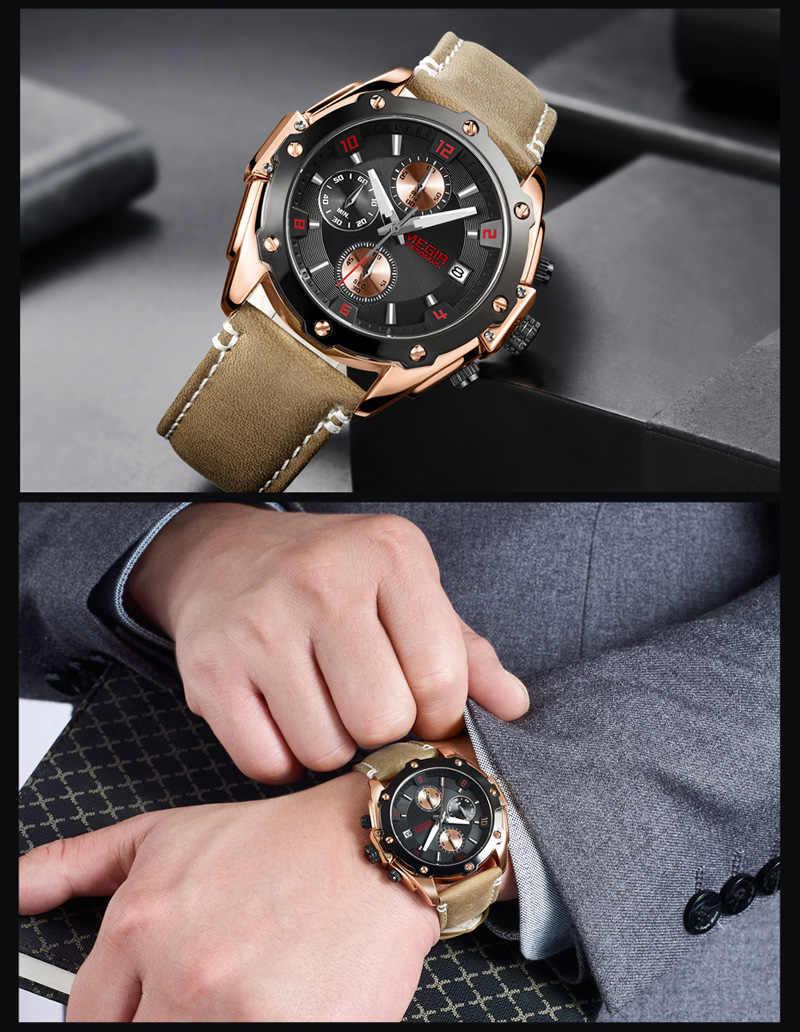 MEGIR mężczyźni oglądać najlepsze marki luksusowe niebieski Chronograph zegarek data wojskowy Sport skórzany pasek mężczyzna zegar Relogio Masculino 2074