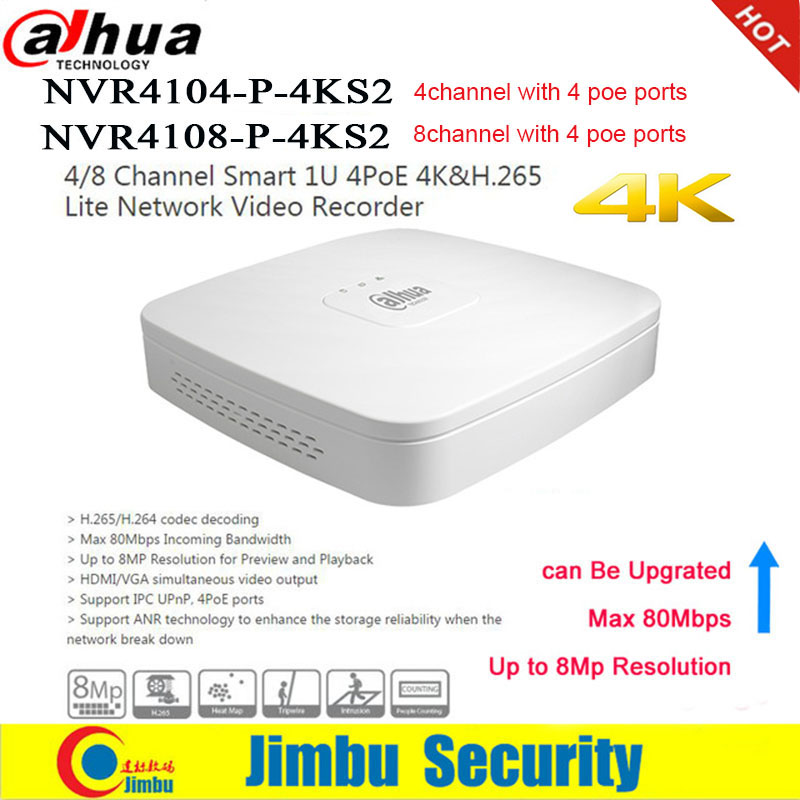 Dahua NVR DVR Network Video Recorder 4K 4 PoE port NVR4104 P 4KS2 4Ch NVR4108 P