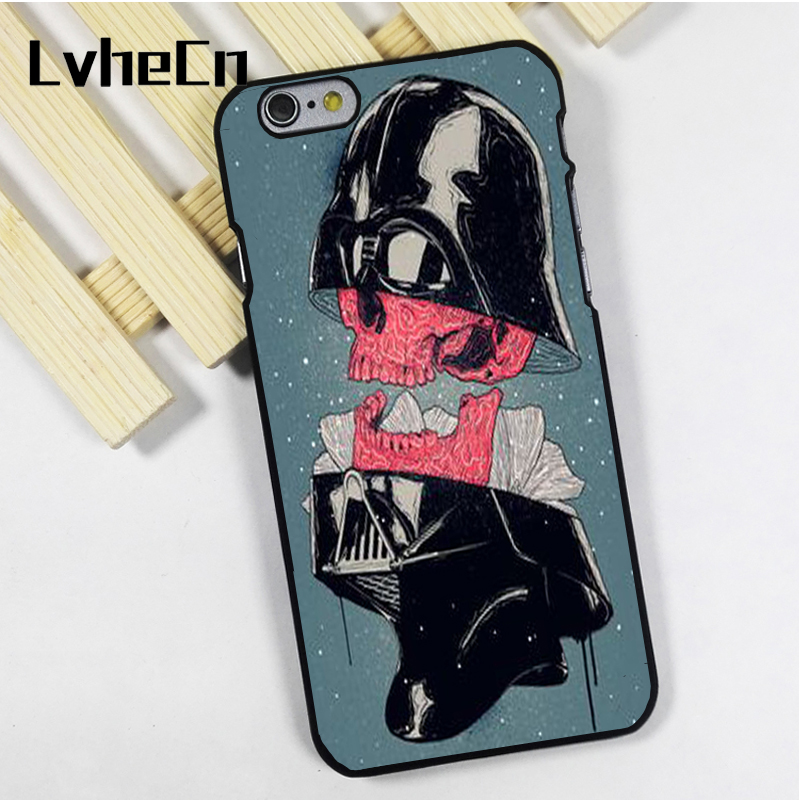LvheCn phone case cover fit for iPhone 4 4s 5 5s 5c SE 6 6s 7 8 plus X ipod touch 4 5 6 Darth Vader Star Wars Skull Art
