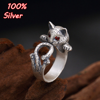 S925 Sterling Silver South Korean edition of the personality of the vintage sand and silver jewelry cat silver jewelry opening f
