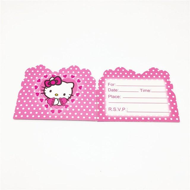 Anak Anak 10 Pcs Hello Kitty Pink Kartu Undangan Gadis Pesta Ulang