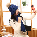 Hat female winter autumn and winter fashion knitted thermal knitted hat scarf twinset