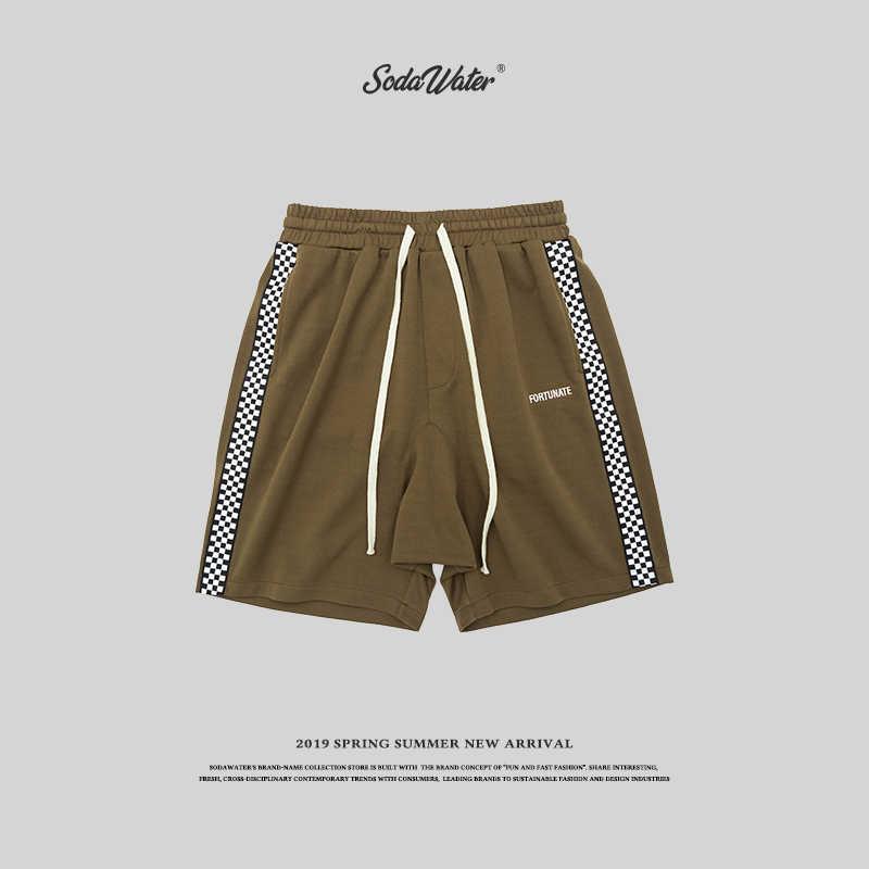 SODAWATER 2019 Hip hop erkek şort yan ekose elastik bel diz boyu erkek şort rahat gevşek streetwear kısa pantolon 8409S