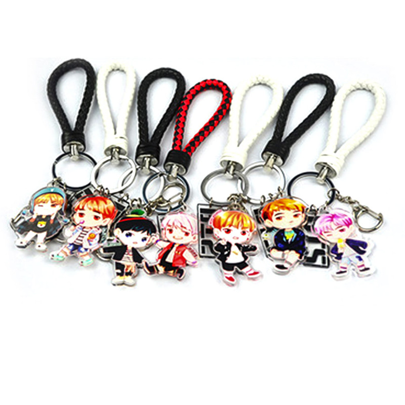 1PC New Fashion Cute Kpop BTS Bangtan Boys Suga Q Edition Acrylic Keychain Keyring Pendant