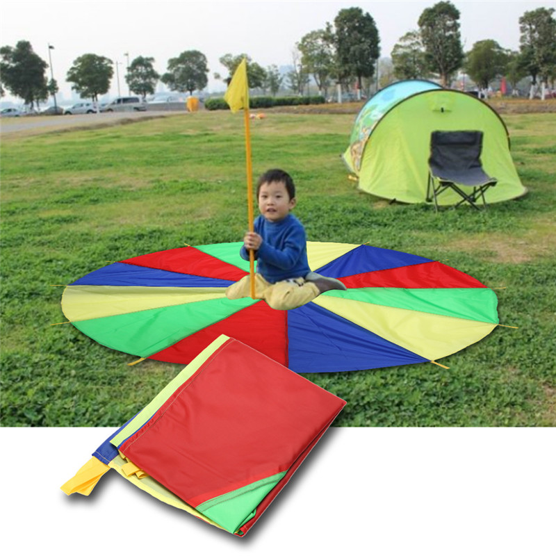 2M Children Kids Outdoor Sports Development Toy Rainbow Umbrella Parachute Toy Jump-sack Ballute Play Parachute Gameing Play Mat